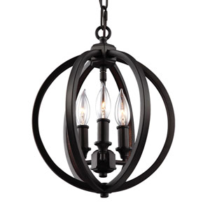 Corinne Oil Rubbed Bronze Three-Light 11-Inch Wide Pendant