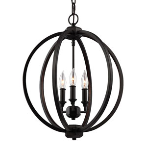 Corinne Oil Rubbed Bronze Three-Light 17-Inch Wide Pendant