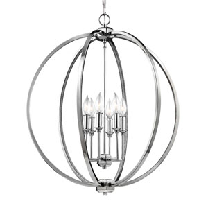 Corinne Polished Nickel Six-Light Pendant