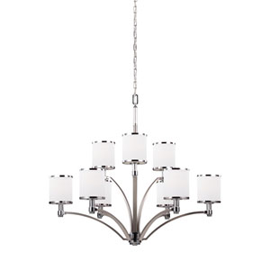Prospect Park Satin Nickel and Chrome Nine-Light Chandelier