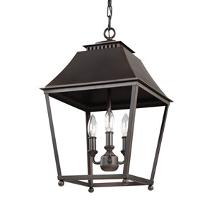 Galloway Antique and Dark Copper 13-Inch Three-Light Pendant