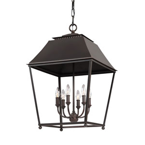 Galloway Antique and Dark Copper 18.5-Inch Six-Light Pendant