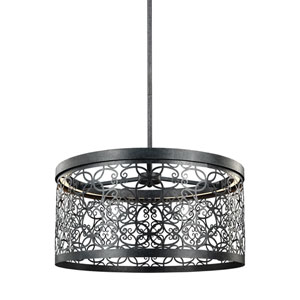 Arramore Dark Weathered Zinc LED Outdoor Drum Pendant