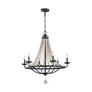 Nori Dark Weathered Zinc and Driftwood Grey Six-Light Chandelier