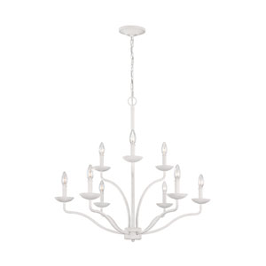Annie Plaster White Nine-Light Chandelier