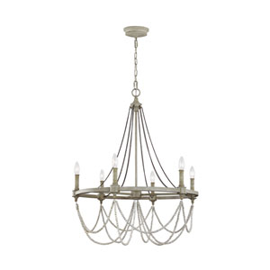 Beverly French Washed Oak and Distressed White Wood Six-Light Chandelier