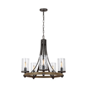 Angelo Distressed Weathered Oak and Slated Grey Metal Five-Light Chandelier