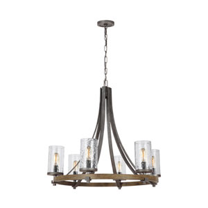Angelo Distressed Weathered Oak and Slated Grey Metal Six-Light Chandelier