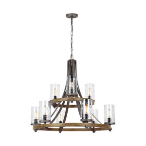 Angelo Distressed Weathered Oak and Slated Grey Metal Nine-Light Chandelier