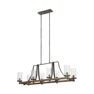 Angelo Distressed Weathered Oak and Slated Grey Metal Eight-Light Island Pendant