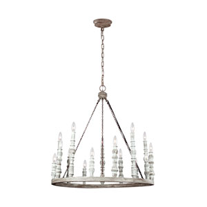 Norridge Distressed Fence Board and Distressed White Fifteen-Light Chandelier