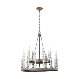 Norridge Distressed Fence Board and Distressed White Twenty-Four Light-Light Chandelier