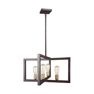 Finnegan New World Bronze 24-Inch Four-Light Chandelier