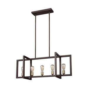 Finnegan New World Bronze 12-Inch Five-Light Island Pendant