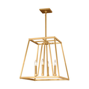 Conant Gilded Satin Brass 18-Inch Four-Light Pendant