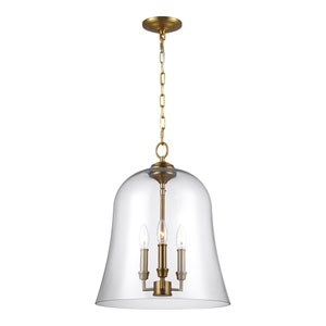 Lawler Burnished Brass 15-Inch Three-Light Pendant