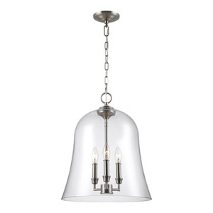 Lawler Satin Nickel 15-Inch Three-Light Pendant