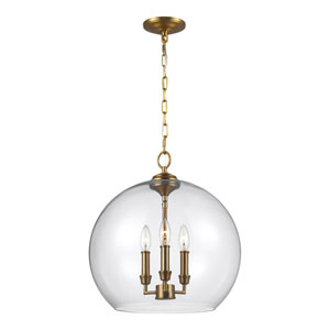 Lawler Burnished Brass 16-Inch Three-Light Pendant