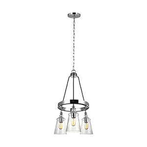 Loras Chrome Three-Light Chandelier