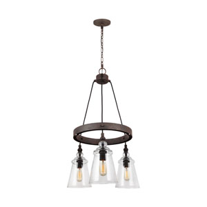 Loras Dark Weathered Iron Three-Light Chandelier
