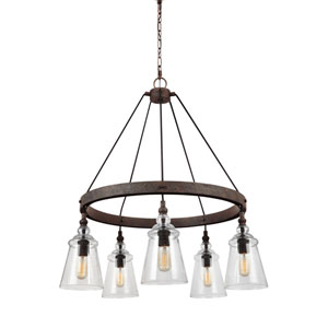 Loras Dark Weathered Iron Five-Light Chandelier