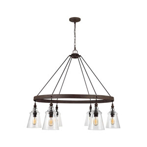 Loras Dark Weathered Iron Six-Light Chandelier