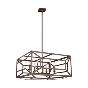 Marquelle Weathered Iron 28-Inch Six-Light Chandelier