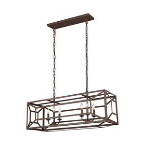 Marquelle Weathered Iron Six-Light Island Pendant