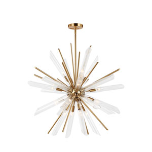 Quorra Burnished Brass Sixteen-Light Chandelier