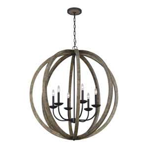 Allier Weathered Oak Wood and Antique Forged Iron 38-Inch Six-Light Pendant Chandelier