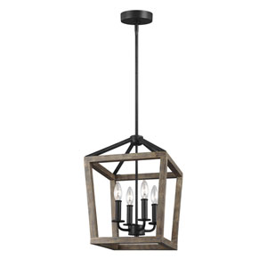 Gannet Weathered Oak Wood and Antique Forged Iron 12-Inch Four-Light Pendant