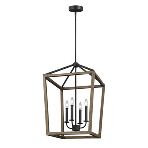 Gannet Weathered Oak Wood and Antique Forged Iron 18-Inch Four-Light Pendant
