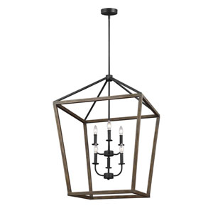 Gannet Weathered Oak Wood and Antique Forged Iron 26-Inch Six-Light Pendant
