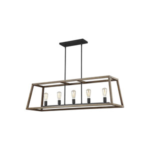 Gannet Weathered Oak Wood and Antique Forged Iron 14-Inch Five-Light Island Pendant