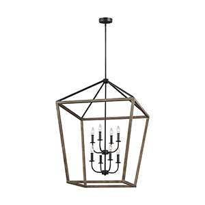 Gannet Weathered Oak Wood  and  Antique Forged Iron Eight-Light Chandelier