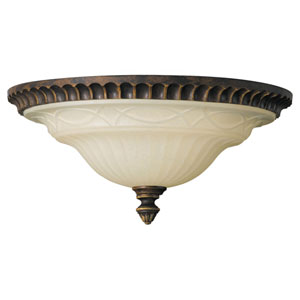 Drawing Room Walnut Two-Light Flush Mount Ceiling Light