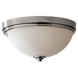 Malibu Polished Nickel Three Light Flushmount with White Opal Etched Glass