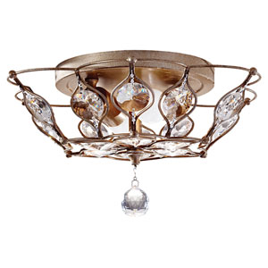 Leila Two-Light Burnished Silver Flush Mount Fixture