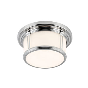 Woodward Polished Nickel Two-Light Flush Mount