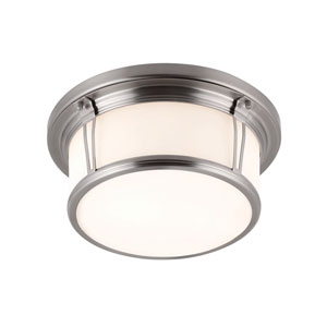 Woodward Brushed Steel Two-Light Integrated LED Flushmount