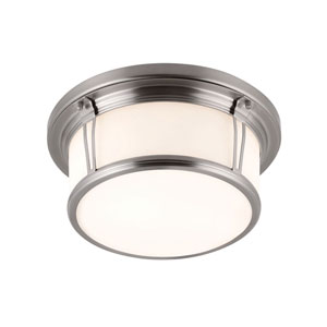 Woodward Brushed Steel Two-Light Flush Mount with Opal Etched Glass