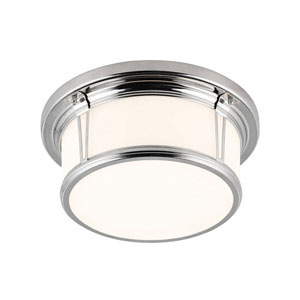 Woodward Polished Nickel Two-Light Flush Mount with Opal Etched Glass