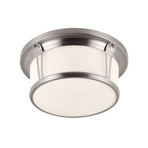 Woodward Brushed Steel Three-Light Flush Mount with Opal Etched Glass