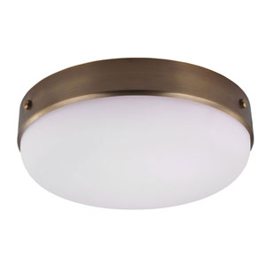 Cadence Dark Antique Brass Three-Light Indoor Flush Mount with White Opal Etched Glass