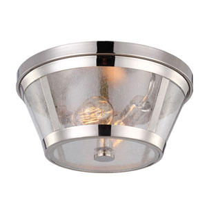 Harrow Polished Nickel Two-Light Flush Mount with Clear Seeded Glass Panel