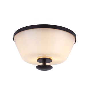 Huntley Oil Rubbed Bronze Two-Light Flush Mount with Ivory Powder Frit Glass