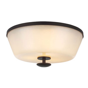 Huntley Oil Rubbed Bronze Three-Light Flush Mount with Ivory Powder Frit Glass