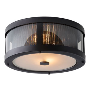 Bluffton Oil Rubbed Bronze Two-Light Flush Mount with Clear Glass Panel