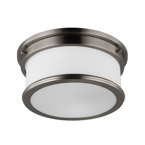 Payne Brushed Steel Two-Light Flush Mount with White Opal Etched Glass