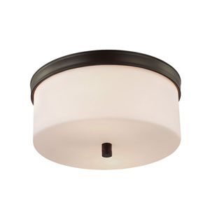 Lismore Oil Rubbed Bronze Two-Light Flush Mount with Opal Etched Glass